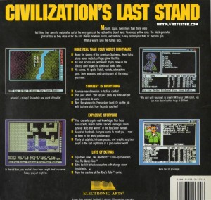 Reverse cover of Wasteland for the Commodore 64