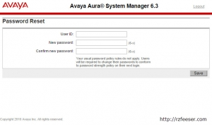Avaya Aura System Manager password reset
